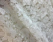 lace fabric, venise lace, crocheted lace fabric, retro floral lace, bridal lace, wedding lace fabric - size: 120cm(width)  x 0.5yard,