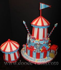 Circus themed cake - By Doodle-Cakes