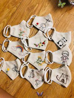 Face mask 100% lin for kid  <br> Sewing Patterns Free, Embroidery Patterns, Hand Embroidery, Free Pattern, Easy Face Masks, Diy Face Mask, Diy Bordados, Crochet Mask, Mask For Kids
