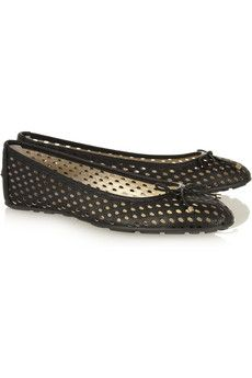 JIMMY CHOO  Walsh perforated textured-leather ballet flats  €350