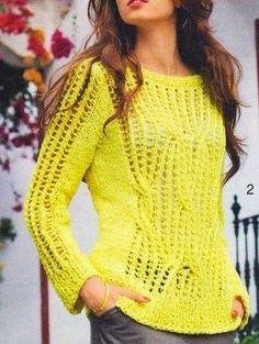 Blusa de linha em trico, sugestão usar Linha Anne ou similar COSTAS Montar 74 (78) 84p. na ag. nº 7 e tricotar em p. barra por 7 cm., em seguida, ir para ag. nº 8 e tricotar como se segue:   tricotar