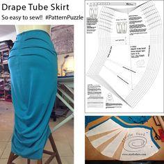 "The Drape Tube Skirt is my favourite! ""SEWING PATTERNS PDF (DOWNLOADS)"" #PatternPuzzles #DrapeSkirt #sewingPatterns"