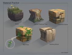 I recently started modeling a garden environment with a early aesthetic, located in Southernish England. Texture Drawing, Texture Art, Texture Painting, Game Design, Prop Design, Environment Painting, Environment Concept Art, Digital Painting Tutorials, Art Tutorials
