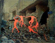 "Matisse, La Danza---Works of art placed in scenes of destruction in Syria, ""Freedom Graffiti"", the digital art project created by artist Tammam Azzam Gustav Klimt, Mural Digital, Henri Matisse, Land Art, Oeuvre D'art, Les Oeuvres, Art History, Contemporary Art, Modern Art"