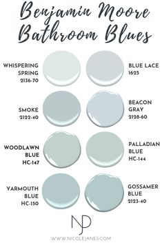 recently released data from their 2017 Paint Color Analysis Study Benjamin Moore Bathroom, Benjamin Moore Paint, Benjamin Moore Woodlawn Blue, Benjamin Moore Shoreline, Light Blue Paints, Light Blue Paint Colors, Beachy Paint Colors, Coastal Colors, Paint Colours