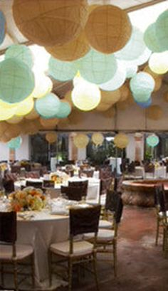wedding tent love the dusty mint lanterns