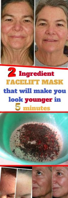 Forget about all those expensive anti-wrinkle treatments and products. Now you can prepare a natural facial mask that will make you look younger in just 5 minutes. Your wrinkles and saggy skin will … Natural Facial, Natural Skin Care, Natural Beauty, Organic Beauty, Health And Beauty Tips, Health And Wellness, Health Tips, Wellness Tips, Healthy Beauty