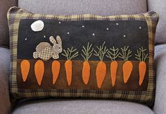 Mr. McGreggors Garden - Wool applique pillow!