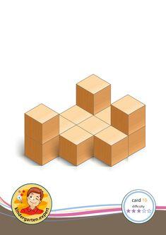 Building card 1 difficulty level 3 for toddlers, preschool idea, Preschool card building blocks with toddlers difficulty Block Center, Block Area, Cube Pattern, Pattern Blocks, Block Patterns, School Hacks, School Fun, Motor Planning, Math Stem