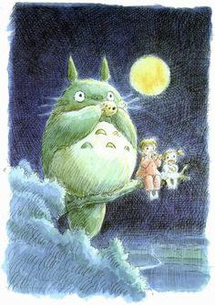 "One of my favorite scenes from ""My Neighbor Totoro"" by Hayao Miyazaki and Studio Ghibli. Manga Anime, Anime Art, Hayao Miyazaki, Art Studio Ghibli, Ghibli Movies, My Neighbor Totoro, Fan Art, Animation, Illustrations"