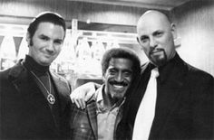 Here's Sammy with creepy Temple of Set founder Michael Aquino (Left) and bald founder of the Church of Satan, Anton LaVey