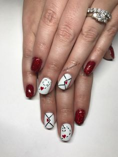 Valentine's Day Nail Art: Sealed with a kiss. ❤️✉ Tiny hearts are the perfect addition to any nail design. Nails by Bellissimanails_ri