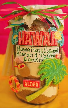 Taralynn's Hawaiian Coconut Almond Toffee Cookies!     Ingredients In Jar:  -1 1/2 cups light brown sugar  -1/2 cup granulated sugar  -2 cups all-purpose flour  -1/4 teaspoon salt  -1/4 teaspoon baking soda  -1 - 10 oz. bag toffee candy bits  -1 cup oatmeal  -1 1/2 cups sweetened flaked coconut  -1 1/3 cups sliced almonds Toffee Candy, Toffee Cookies, Cookie Bars, Jar Mix Recipe, Hawaiian Candy, Almond Toffee, Mason Jar Gifts, Diy Crafts For Gifts, Sliced Almonds