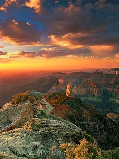 Mount Hayden at sunrise from Point Imperial on the North Rim of Grand Canyon National Park in arizona