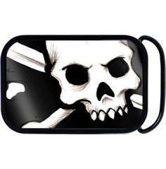 Black White Skull Crossbones Belt Buckle
