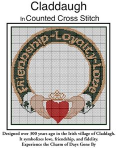 Irish Claddagh In Counted Cross Stitch Pattern PDF