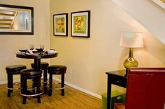 Quaint dining room at the model apartment at The Copper Hill Apartments in Bedford, TX