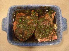 Balsamic marinated pork chops, cooked on Big Green Egg. Love my Egg!
