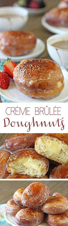 Creme Brulee Doughnuts - with a vanilla pastry cream filling and crackling layer of caramelized sugar on top. Delicious Donuts, Delicious Desserts, Yummy Food, Donut Recipes, Baking Recipes, Donut Flavors, Just Desserts, Dessert Recipes, Food Trucks