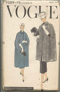 Cape in Three Lengths Day Evening Notched Collar Easy to Sew Vogue 9089 Uncut FF Size Small Bust Women's Vintage Sewing Pattern Vintage Dress Patterns, Vintage 1950s Dresses, Vintage Outfits, Vintage Fashion, Vintage Fur, Vintage Ladies, Love Sewing, Sewing Tips, Sewing Projects