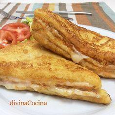 El sándwich Montecristo es unos de los grandes clásicos de la cocina americana. Aquí tienes la receta y vídeo-receta para que veas que fácil es prepararlo. Tacos, Tostadas, Hamburgers, Flan, Monte Cristo Sandwich, Great Recipes, Favorite Recipes, Brunch, Wrap Sandwiches