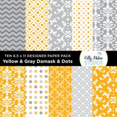 002A Yellow and Gray   Designer Paper Pack  by Kellymedinastudios, $4.00