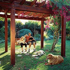 Create a shady retreat  Like humans, dogs enjoy basking in the sun. So by all means, give them a deck or a patch of lawn for sunbathing. But remember that dogs can overheat easily, so it's even more important to provide them with cooling retreats.    Here, four retrievers (liko, Lexi, Andy and Morgan) enjoy resting under an arbor in Oceanside, Calif.