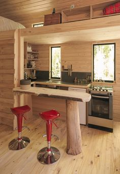 Image 9 of 14 from gallery of PV Cabin / Lorena Troncoso-Valencia. Image Courtesy of Lorena Troncoso-Valencia Rustic Home Design, Cabin Design, Rustic Style, Tiny House Cabin, Cabin Homes, Small Cabin Kitchens, Ideas Cabaña, Build Your Own Cabin, Small Cottage Designs