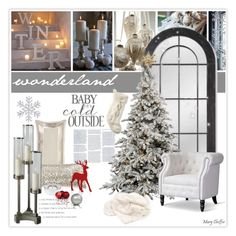 """Winter Wonderland"" by mcheffer ❤ liked on Polyvore featuring interior, interiors, interior design, home, home decor, interior decorating, Williams-Sonoma, Dansk, L.L.Bean and Baxton Studio"
