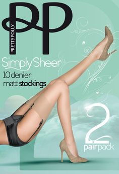 db6a7f0d1 Pretty Polly Simply Sheer 10 Denier Matte Stockings 2 Pair Pack Plain Retro  Tops