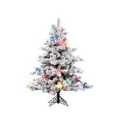 Vickerman 4.5Ft. Flocked White on Green 349 Tips Christmas Tree