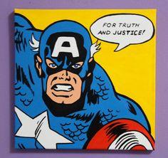 Captain America Pop Art Painting by ArtofaSilentBee on Etsy, $35.00