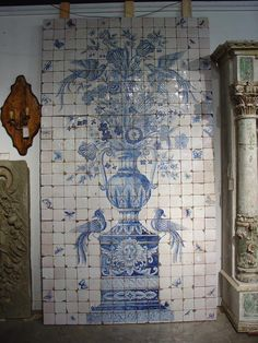 """Massive 'Azulejo' Antique Tiled Plaque from Portugal. The tiles are mounted on a wooden backing, ca. 1890. The word azulejo literally means """"small square tile. For centuries, Portuguese royalty and spiritual leaders have decorated the inside and outside of their palaces, homes and churches with brilliantly colored antique Portuguese tile art"""