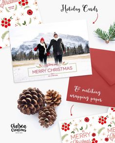 Holiday Cards and matching wrapping paper by Chelsea Creations Design