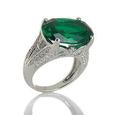 Victoria Wieck Absolute™ Oval Emerald Baguette Fan Ring