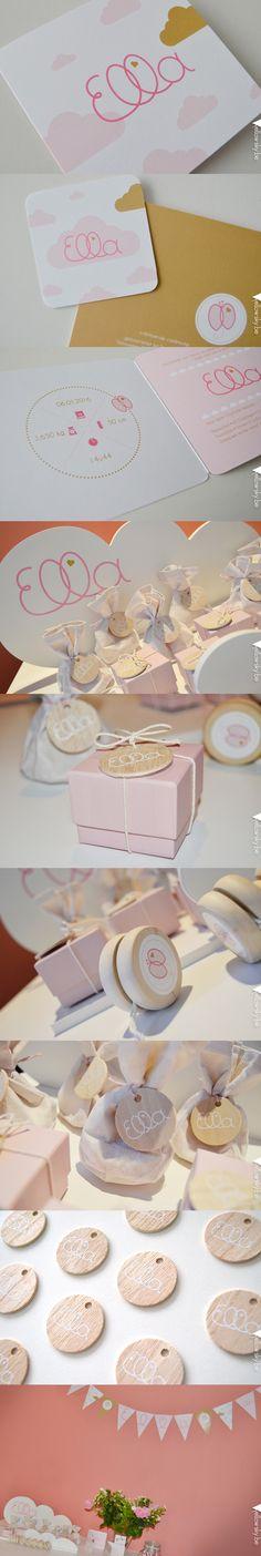 Uniek ontworpen geboortekaartje en doopsuikers voor lieve Ella! Vlindertje met roze en gouden wolkjes. Designed by Yellow Sky. #geboorte #doopsuikers #wolkje #roze #goud #vlinder #meisje