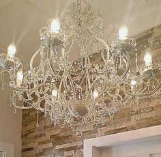 Large Vintage Chandelier 8 Light French Cream Shabby Glass Raindrop Crystals NEW