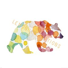 Bear Watercolor clipart Printable Poster by Lemonillustrations
