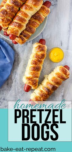 These pretzel dogs are easy to make for the perfect tasty snack or lunch - hot dogs wrapped in buttery, soft pretzel dough and sprinkled with coarse salt! #pretzel #pretzeldogs #hotdogs #snack #homemade