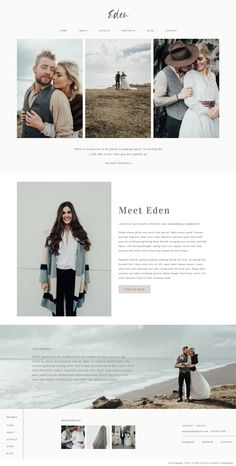 Eden by Swoone is pure simplistic beauty. Featuring a soft, earthy color palette, and lovely negative space, this website template is great for any photographer. This design pairs a fun script font for your logo with a lovely serif and san serif. Website Design Inspiration, Beautiful Website Design, Layout Inspiration, Photography Website Templates, Photography Website Design, Design Sites, Web Design Trends, Portfolio Website Design, Website Design Layout