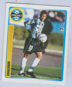 """Sports Card Forum - Top 50 Football Cards (Mostly Vintage) : #45. 1999 Panini Brasilero Ronaldinho. Though several years past his prime today, Ronaldinho was a dominant player in the mid-2000s. He won FIFA World Player of the Year honors twice – in 2004 and 2005 – and was third in voting in 2006. This Panini """"rookie"""" sticker was issued in Brazil prior to Ronaldinho's move to Europe when he played for Grêmio."""