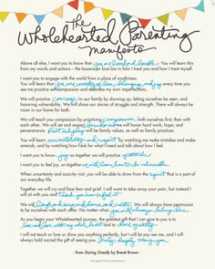 The Wholehearted Parenting Manifesto