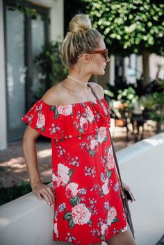 Red floral off-shoulder dress  with <3 from JDzigner www.jdzigner.com