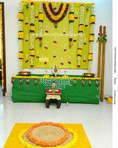 Simple Stage Decorations, Diy Diwali Decorations, Wedding Stage Decorations, Backdrop Decorations, Marriage Decoration, Garland Wedding, Festival Decorations, Thali Decoration Ideas, Decoration For Ganpati