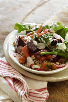 This recipe for Warm Winter Vegetables with Farro comes from FEAST by Sarah Copeland!
