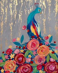 This whimsical painting featuring a peacock is a blast to paint! Find it at your local Pinot's Palette, and customize the flowers with the colors of your choice! #birdpainting #flowerpainting #paintandsip