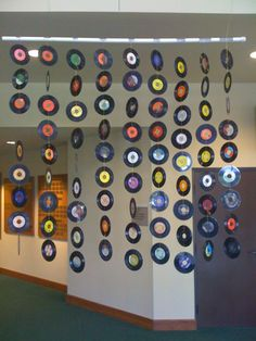 50s Party Decor #records make a banner like this to hang over server; make records and write