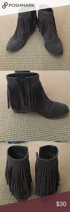Host Pick!Charcoal Faux Suede Fringe Booties Never worn!  So cute for winter with jeans or leggings. Shoes Ankle Boots & Booties