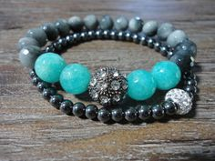 Gray Hawks Eye and Turquoise Jade Beaded by AprilSueDesigns
