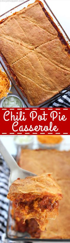 This Chili Pot Pie Casserole with crescent roll crust can be made with homemade chili or chili from a can. A perfect weeknight meal that is great for feeding a larger family. Chilli Recipes, Mince Recipes, Fall Recipes, Yummy Recipes, Slow Cooker Chili, Slow Cooker Recipes, Cooking Recipes, Cooking Tips, Crescent Roll Recipes